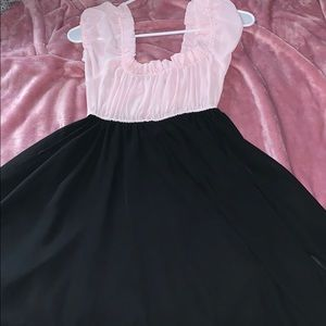 Retro pink and black dress